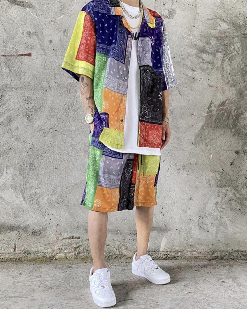 マルチカラーパッチワークバンダナ半袖シャツの画像4